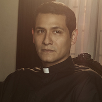 Father Delgado played by Jaime Zevallos