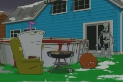 Cybernetic Ghost Of Christmas Past From The Future.Aqua Teen Hunger Force 1x18 Cybernetic Ghost Of Christmas