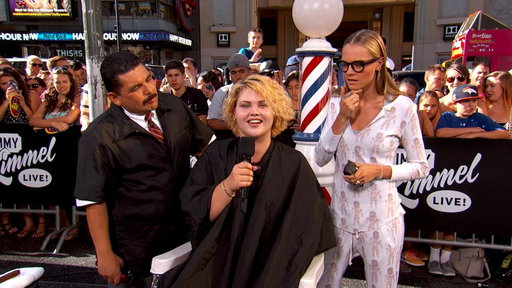 S14E100 Guillermo & Cara Delevingne Give Summer Haircuts to Pedestrians