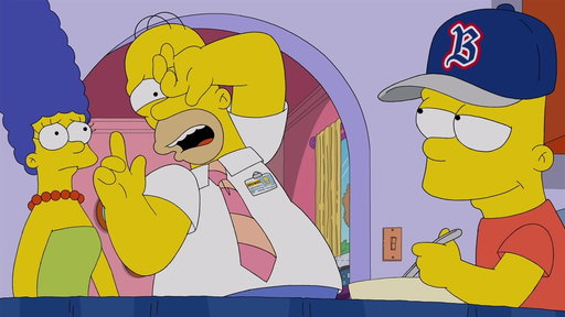 Homer Is Shocked to Find Bart Wearing the Opposing Team's Gear