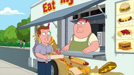 S15E16 Peter Serves a Customer at His Food Truck