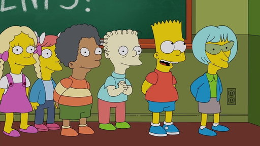 "Bart Gets in Trouble for Making up Lyrics to the Class Song from ""Looking for Mr. Goodbart"""