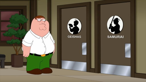 S16E02 Peter Tries To Decide Which Restroom To Use
