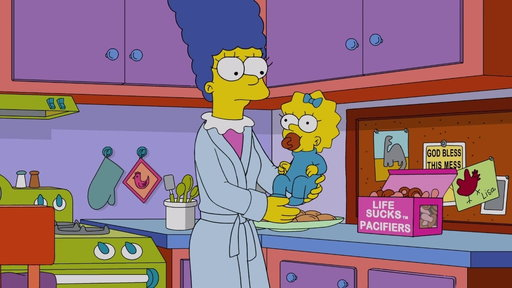 """S29E08 Marge Gives Maggie Her First Addiction from """"Mr. Lisa's Opus"""""""