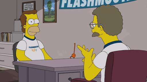 S29E13 Homer Works at Flashmouth