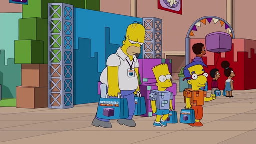 S29E15 Homer takes Bart & Millhouse To TunnelCraft-Con