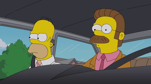 S29E19 Homer & Flanders Carpool To Work