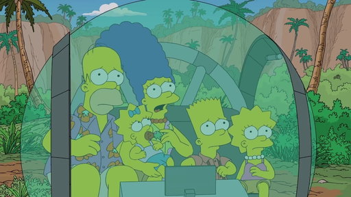 "The Simpsons Run Into A Geriatric Dinosaur from ""Treehouse of Horror XXIX"""