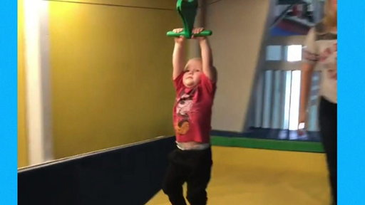 S0E0 Adorable little boy crashes trying out zip lining