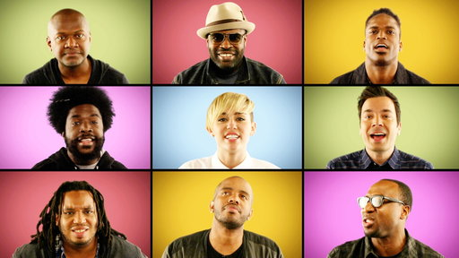 """S6E11 Jimmy Fallon, Miley Cyrus & the Roots Sing """"We Can't Stop"""" (A Cappella)"""