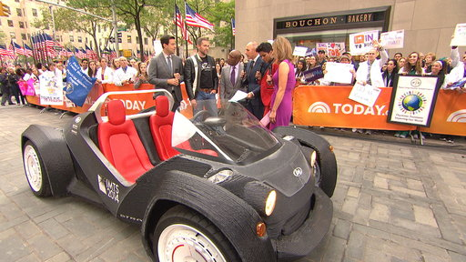 S0E0 Carson Cruises in 3-D Printed Car On TODAY Plaza