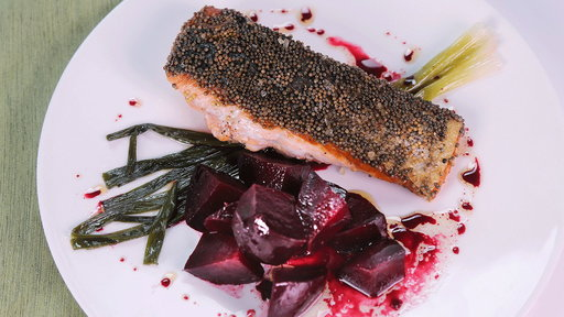 S4E78 Mustard-Crusted Salmon With Roasted Beets and Scallions, Part 1